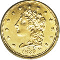 Classic Quarter Eagles: , 1839-C $2 1/2 MS62 PCGS. Recut 39, Breen-6150, Winter 3-C, McCloskey-C, R.3. A radiant yellow-gold example with fewer marks...