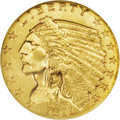 Indian Quarter Eagles: , 1911-D $2 1/2 MS62 NGC. The combination of a low mintage and a low survival rate are responsible for creation of this key-d...