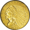 Indian Quarter Eagles: , 1911-D $2 1/2 MS62 PCGS. A solid Brilliant Uncirculated example of this key to the Indian quarter eagle series. The mintmar...