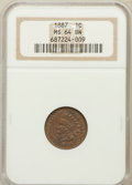 Indian Cents: , 1887 1C MS64 Brown NGC. NGC Census: (152/46). PCGS Population(34/7). Mintage: 45,226,484. Numismedia Wsl. Price for proble...