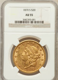 Liberty Double Eagles: , 1870-S $20 AU55 NGC. NGC Census: (266/304). PCGS Population(75/117). Mintage: 982,000. Numismedia Wsl. Price for problem f...