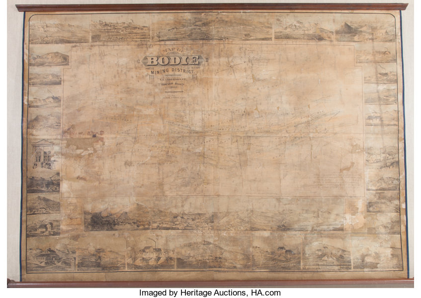 Huge 1880 Map Of Bodie California Now A Famous Ghost Town Lot