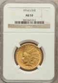 Indian Eagles: , 1914-S $10 AU53 NGC. NGC Census: (25/863). PCGS Population(34/692). Mintage: 208,000. Numismedia Wsl. Price for problem fr...