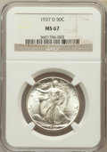 Walking Liberty Half Dollars: , 1937-D 50C MS67 NGC. NGC Census: (32/1). PCGS Population (39/0).Mintage: 1,676,000. Numismedia Wsl. Price for problem free...