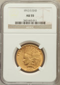 Indian Eagles: , 1913-S $10 AU55 NGC. NGC Census: (183/409). PCGS Population(111/270). Mintage: 66,000. Numismedia Wsl. Price for problem f...