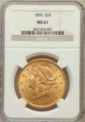 Liberty Double Eagles: , 1890 $20 MS61 NGC. NGC Census: (196/226). PCGS Population(189/224). Mintage: 75,995. Numismedia Wsl. Price for problemfre...