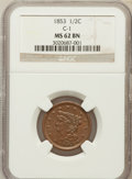 Half Cents: , 1853 1/2 C MS62 Brown NGC. C-1. NGC Census: (125/474). PCGSPopulation (70/319). Mintage: 129,694. Numismedia Wsl. Price f...