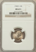 Roosevelt Dimes: , 1948-S 10C MS67+ NGC. NGC Census: (518/3). PCGS Population (188/2).Mintage: 35,520,000. Numismedia Wsl. Price for problem ...