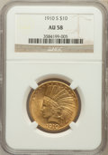 Indian Eagles: , 1910-S $10 AU58 NGC. NGC Census: (603/458). PCGS Population(380/605). Mintage: 811,000. Numismedia Wsl. Price for problem ...