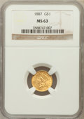 Gold Dollars: , 1887 G$1 MS63 NGC. NGC Census: (65/252). PCGS Population (124/295).Mintage: 7,500. Numismedia Wsl. Price for problem free ...