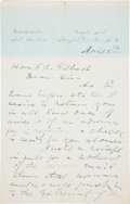 "Autographs:Authors, Wild West Legend and Author Ned Buntline Autograph Letter Signed""E. Z. C. Judson""...."