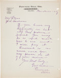 "Western Expansion:Cowboy, Wild West Showman Pawnee Bill Autograph Letter Signed as Presidentof Pawnee Bill Oil and Refinery Company ""G. W. Lillie... (Total:2 Items)"