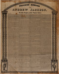 Political:Textile Display (pre-1896), Andrew Jackson: Farewell Address on Silk....