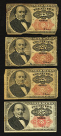 Fractional Currency:Fifth Issue, Fr. 1308 25¢ Fifth Issue Two Examples Fine or Better. Fr. 1309 25¢Fifth Issue Two Examples Good or Better.. ... (Total: 4 notes)