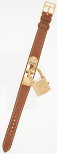 Luxury Accessories:Accessories, Hermes Gold Plated Kelly Watch with Gold Epsom Leather Strap. ...