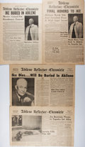 Books:Americana & American History, [Newspapers]. Collection of Four Different Newspapers Related tothe Death of President Eisenhower. [Various places, dates]....
