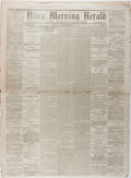 Books:Americana & American History, [Newspapers]. One Issue of the Utica Morning Herald Published JustAfter the Civil War. Utica, June 6, 1865. Some toning, ed...