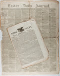 Books:Americana & American History, [Newspapers]. Two Newspapers, including. Army Navy Journal(predecessor to Stars and Stripes) of February 25, 1865 (duringthe...