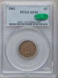 Indian Cents: , 1861 1C XF45 PCGS. CAC. PCGS Population (61/1189). NGC Census:(24/1640). Mintage: 10,100,000. Numismedia Wsl. Price for pr...
