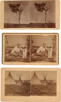"""Photography:Stereo Cards, Three Stereoviews: """"Shyann (Cheyenne) Grave 10 miles from Camp Robinson"""", """"Arapahoes Village 4 miles South East of Camp Robins... (Total: 3 Items)"""
