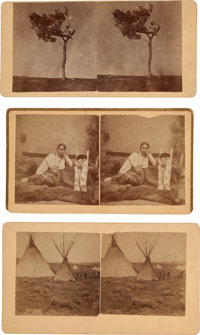 "Three Stereoviews: ""Shyann (Cheyenne) Grave 10 miles from Camp Robinson"", ""Arapahoes Village 4 miles Sout..."