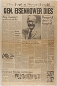 Books:Americana & American History, [Newspapers]. One Issue of the Joplin News Herald with a HeadlineRelating to the Death of President Eisenhower. Joplin News...