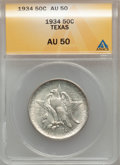 Commemorative Silver: , 1934 50C Texas AU50 ANACS. NGC Census: (2/2245). PCGS Population(2/3610). Mintage: 61,463. Numismedia Wsl. Price for probl...