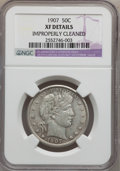 Barber Half Dollars: , 1907 50C -- Improperly Cleaned -- NGC Details. XF. NGC Census:(3/238). PCGS Population (14/323). Mintage: 2,598,575. Numis...