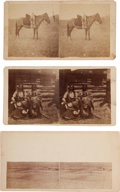 """Photography:Stereo Cards, Three Stereoviews: """"Sioux Squaws"""", """"Sioux Camp after Starting for the Missouri"""", and """"Sioux Papoose tied to a Horse"""".... (Total: 3 Items)"""