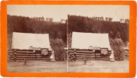 "Stereoview: ""First Photograph Gallery in Black Hills"""