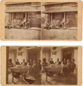 "Photography:Stereo Cards, Two Stereoviews: ""Camp Robinson - Chief Spotted Tail, Squaw and Dotter (Daughter)"", and ""Frank Ransom at J. W. Paddock's House... (Total: 2 Items)"