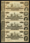 Confederate Notes:1864 Issues, T67 $20 1864 PF-11 Cr. 511 Four Consecutive Examples.. ... (Total: 4 notes)