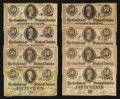 Confederate Notes:1863 Issues, T63 50 Cents 1863. T72 50 Cents 1864 Seven Examples. . ... (Total:8 notes)