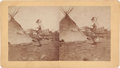 "Photography:Stereo Cards, Stereoview: ""Old River Foot and Teapey (tipi), a Good Indian and a Big Talker""...."