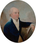 Paintings, JOHN DOWNMAN (British, 1750-1824). Portrait of a Gentleman. Oil on panel. 7 x 6 inches (17.8 x 15.2 cm) (oval). Inscribe...