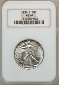 Walking Liberty Half Dollars: , 1936-D 50C MS64 NGC. NGC Census: (562/732). PCGS Population(1065/1397). Mintage: 4,252,400. Numismedia Wsl. Price for prob...