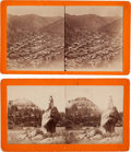 """Photography:Stereo Cards, Two Stereoviews: """"Calamity Peak and Antelope Rock, French Creek"""" and """"Deadwood City, General View"""".... (Total: 2 Items)"""