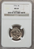 Buffalo Nickels: , 1916 5C MS64 NGC. NGC Census: (714/392). PCGS Population (973/651).Mintage: 63,498,064. Numismedia Wsl. Price for problem ...