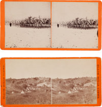 Two Stereoviews: Indian Encampment and Trees in Winter Scene