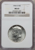 Kennedy Half Dollars: , 1964-D 50C MS65 NGC. NGC Census: (629/188). PCGS Population(776/495). Mintage: 156,205,440. Numismedia Wsl. Price for prob...