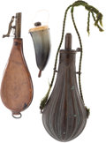 Ammunition, Lot of Three: Powder Horn, Powder Flask and Leather Shot Pouch....(Total: 3 Items)