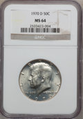 Kennedy Half Dollars: , 1970-D 50C MS64 NGC. NGC Census: (998/926). PCGS Population(1199/1804). Mintage: 2,150,000. Numismedia Wsl. Price for prob...