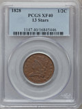 Half Cents: , 1828 1/2 C 13 Stars XF40 PCGS. PCGS Population (59/640). NGCCensus: (37/1313). Mintage: 606,000. Numismedia Wsl. Price for...
