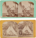 Photography:Stereo Cards, Two Stereoviews: Omaha Indians.... (Total: 2 Items)