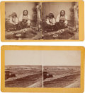 Photography:Stereo Cards, Two Stereoviews: Fort Kearney and Indians Looking atPhotographs.... (Total: 2 Items)