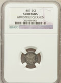Three Cent Silver, 1857 3CS --Improperly Cleaned--NGC Details AU. NGC Census: (4/292).PCGS Population (11/237). Mintage: 1,042,000. Numismedia...