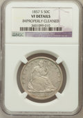 Seated Half Dollars: , 1857-S 50C ----Improperly Cleaned-- NGC Details. VF. NGC Census:(1/27). PCGS Population (4/56). Mintage: 158,000. Numismedi...