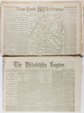Miscellaneous:Newspaper, [Civil War Newspapers]. The Philadelphia Inquirer and TwoEditions of The New-York Daily Tribune, 1861...