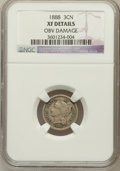Three Cent Nickels: , 1888 3CN --Obv Damage NGC Details. XF. NGC Census: (4/243). PCGSPopulation (17/367). Mintage: 36,500. Numismedia Wsl. Price...