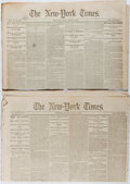 Miscellaneous:Newspaper, [Civil War Newspapers]. Pair of The New-York TimesNewspapers, March, 1862 and August, 1864. Siege of Atlanta, g...